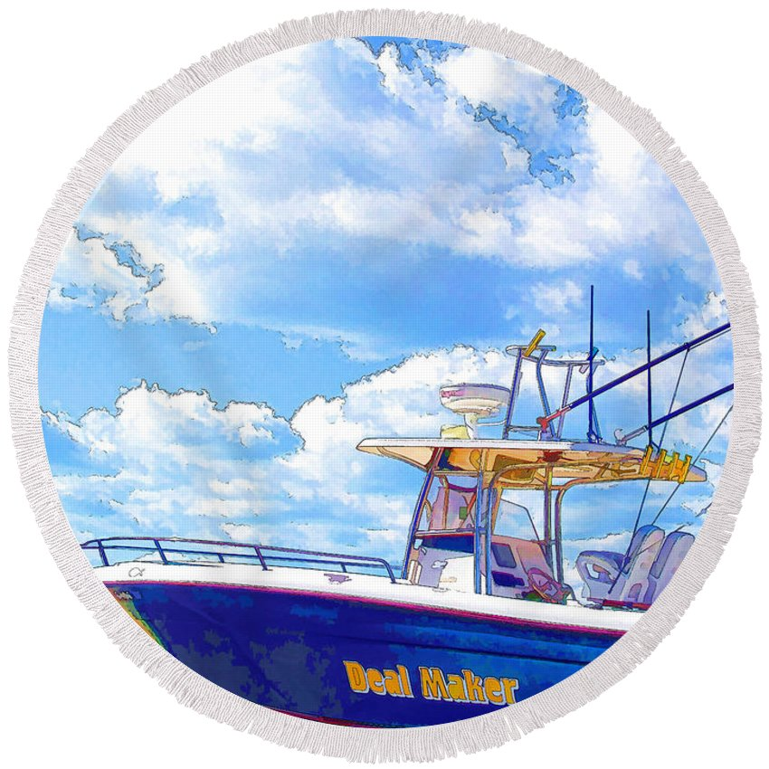 Afloat Round Beach Towel featuring the painting Yacht by Jeelan Clark
