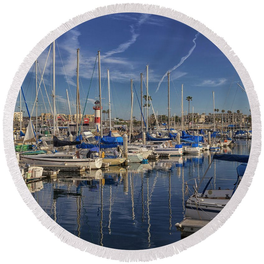 Docks Round Beach Towel featuring the photograph Yachts And Things by Denmark Vea