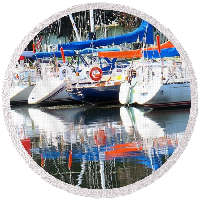 Boat Round Beach Towel featuring the photograph Yachts At Rest by Ian MacDonald