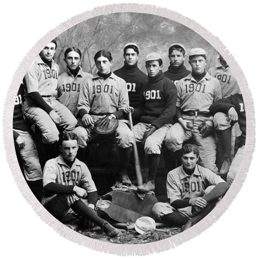 1901 Round Beach Towel featuring the photograph Yale Baseball Team, 1901 by Granger