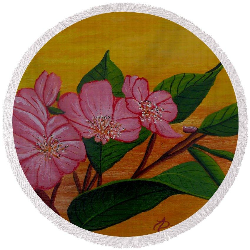 Yamazakura Round Beach Towel featuring the painting Yamazakura Or Cherry Blossom by Anthony Dunphy