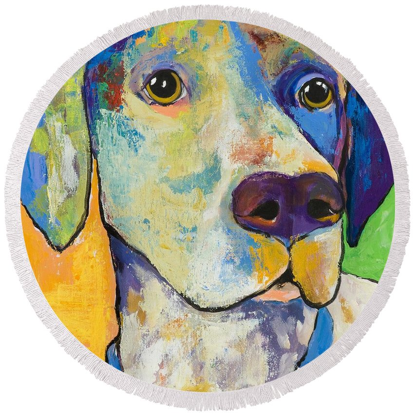 German Shorthair Animalsdog Blue Yellow Acrylic Canvas Round Beach Towel featuring the painting Yancy by Pat Saunders-White