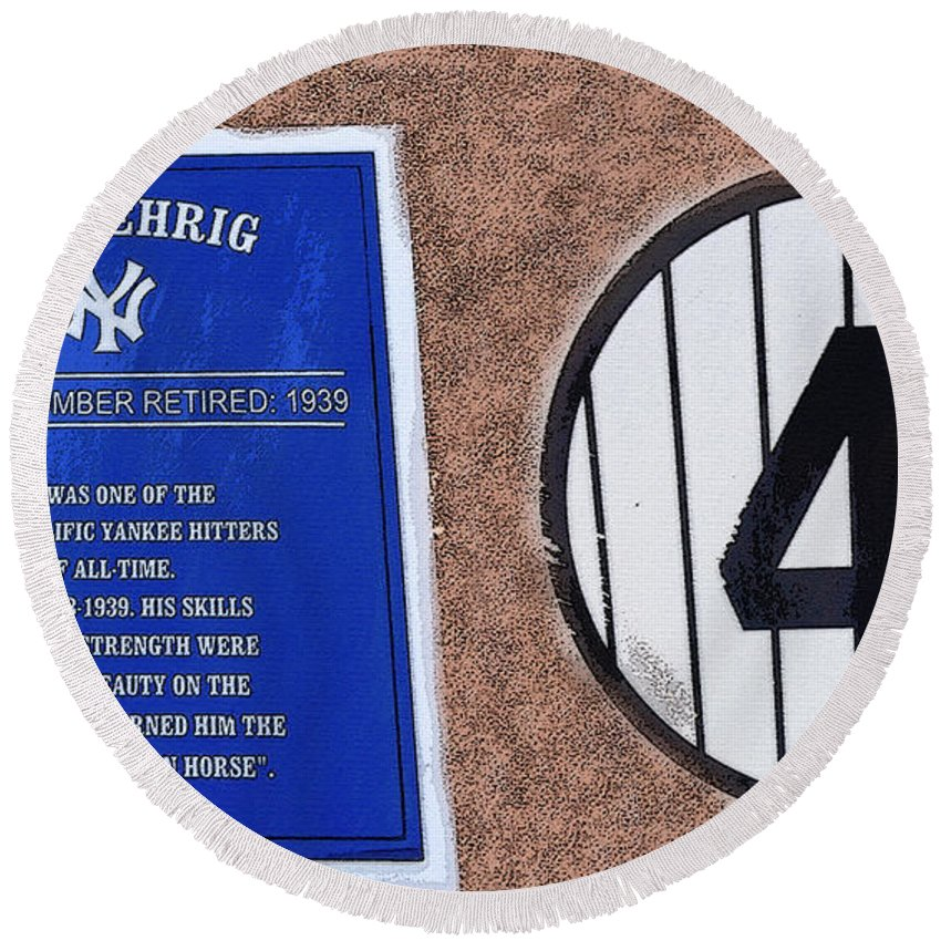 Art Round Beach Towel featuring the painting Yankee Legends Number 4 by David Lee Thompson