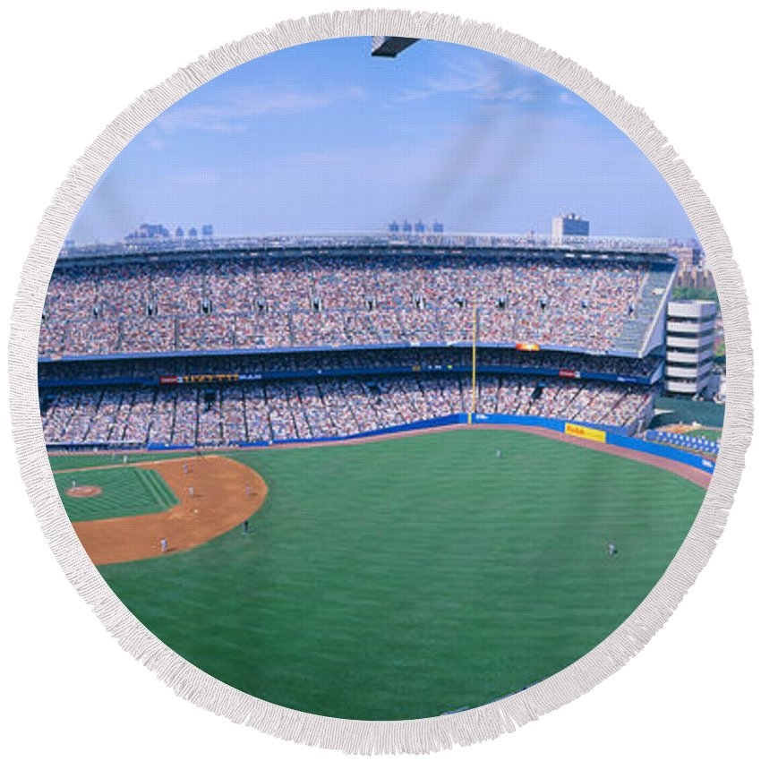 Photography Round Beach Towel featuring the photograph Yankee Stadium Ny Yankees V. Tampa by Panoramic Images