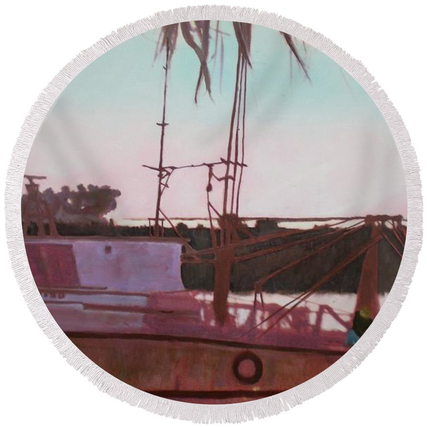 Seascape Round Beach Towel featuring the digital art Yankee Town Fishing Boat by Hal Newhouser