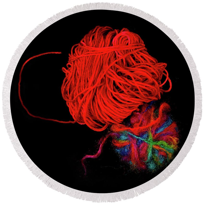 Wool Round Beach Towel featuring the photograph Yarn Leftovers by John Wijsman
