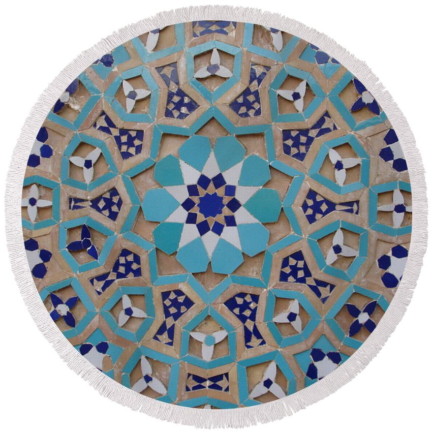 Mosaic Round Beach Towel featuring the photograph Yazd - Blue Mosaic by Sonja Rohde