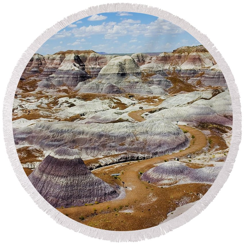 Painted Desert Round Beach Towel featuring the photograph Yea Though I Walk by Skip Hunt