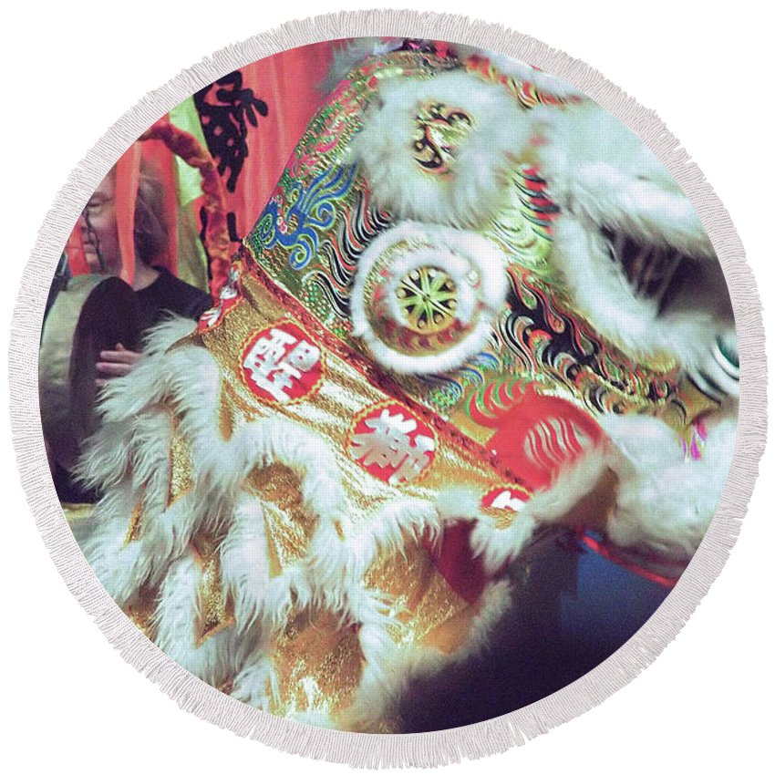 Lion Round Beach Towel featuring the photograph Year Of The Dog Camarillo Calif. by Michael Gordon