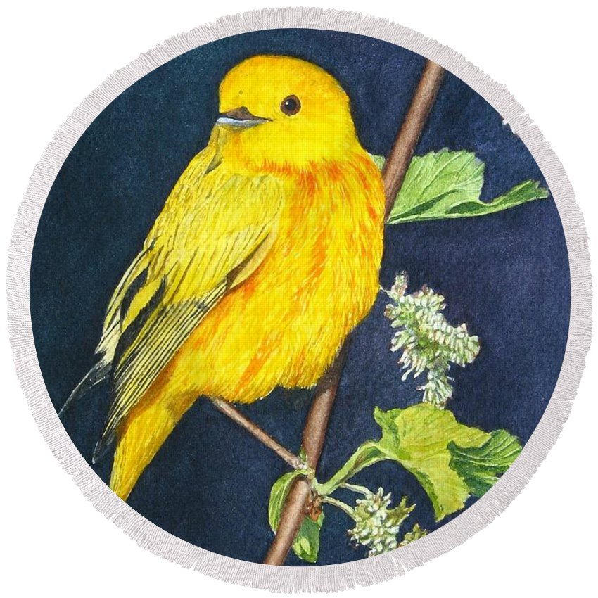 Bird Round Beach Towel featuring the painting Yelllow Warbler by Sharon Farber