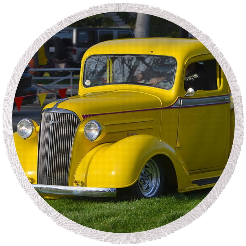 Round Beach Towel featuring the photograph Yellow 30's Chevy Pickup by Dean Ferreira
