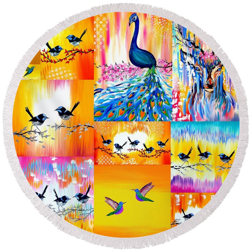 Yellow And Orange Round Beach Towel featuring the painting Yellow And Orange by Cathy Jacobs