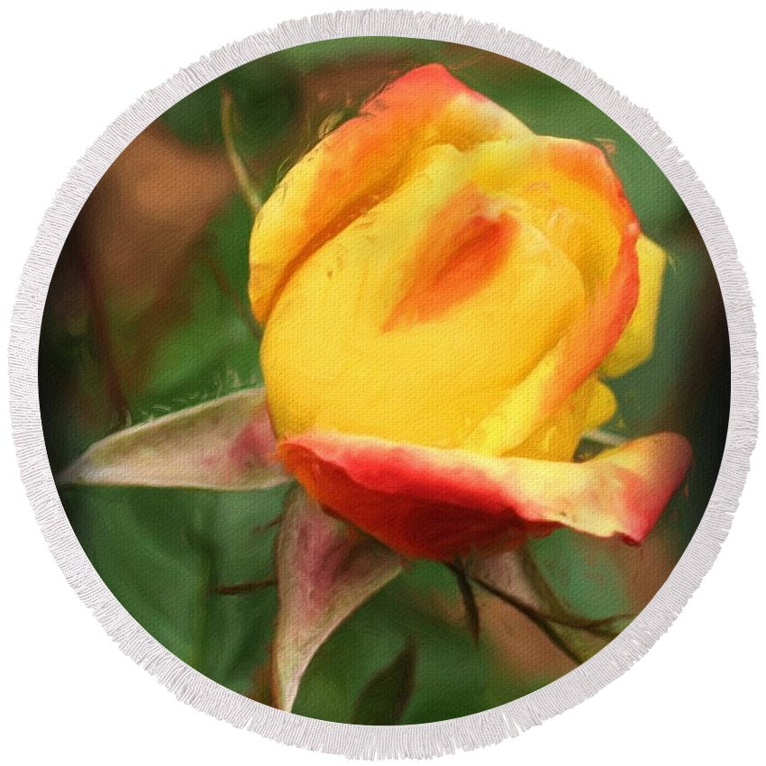 Rose Round Beach Towel featuring the painting Yellow And Orange Rosebud by Smilin Eyes Treasures