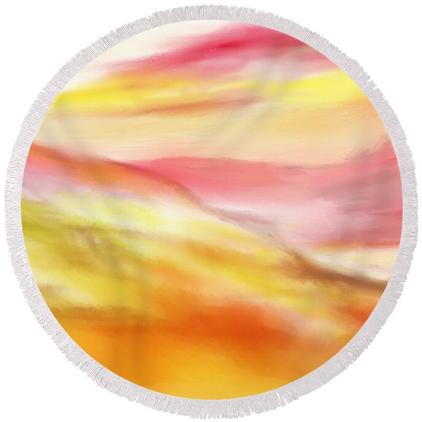 Digital Art Round Beach Towel featuring the digital art Yellow And Red Landscape by David Lane