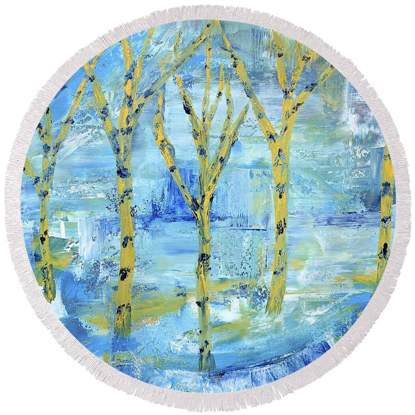 Abstract Round Beach Towel featuring the painting Yellow Birches by Dick Bourgault