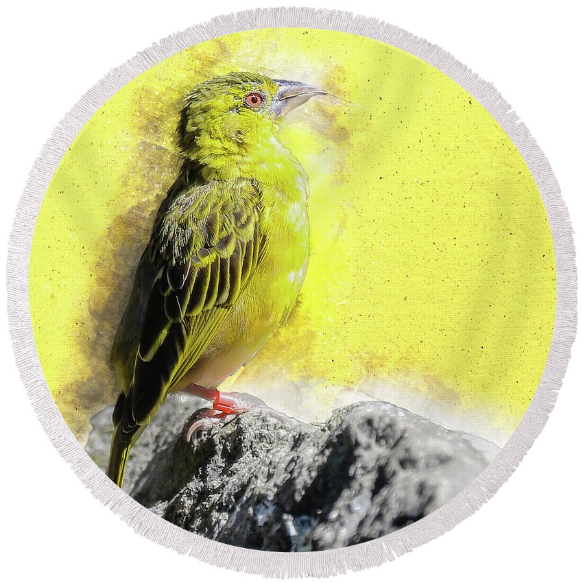 Yellow Round Beach Towel featuring the digital art Yellow Bird by Art By Jeronimo