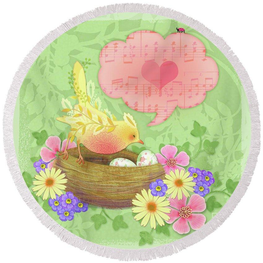 Animal Round Beach Towel featuring the digital art Yellow Bird's Love Song by Valerie Drake Lesiak