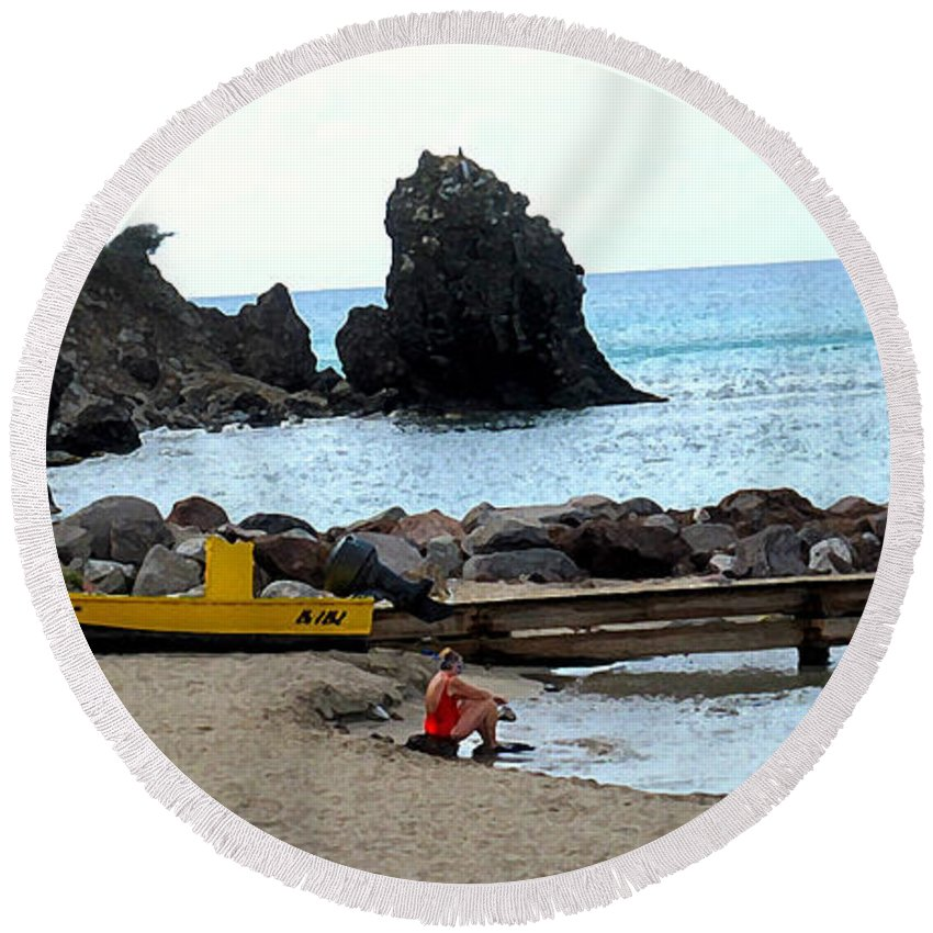 Beach Round Beach Towel featuring the photograph Yellow Boat On The Beach by Ian MacDonald