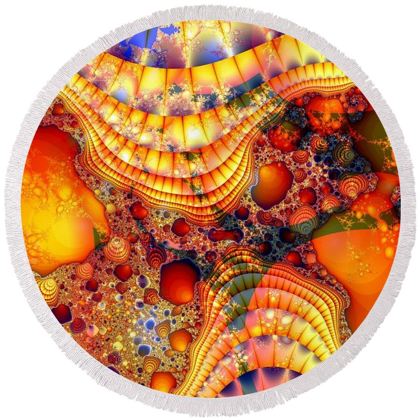 Fractal Round Beach Towel featuring the digital art Yellow Brick Roads by Ron Bissett