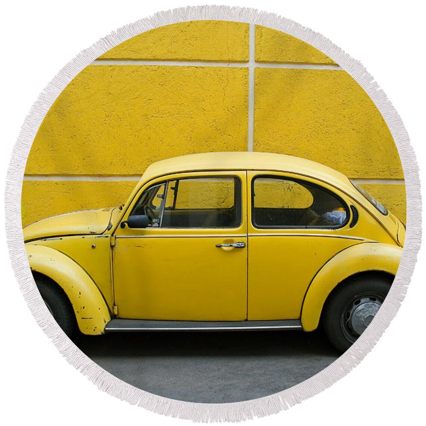 Yellow Round Beach Towel featuring the photograph Yellow Bug by Skip Hunt