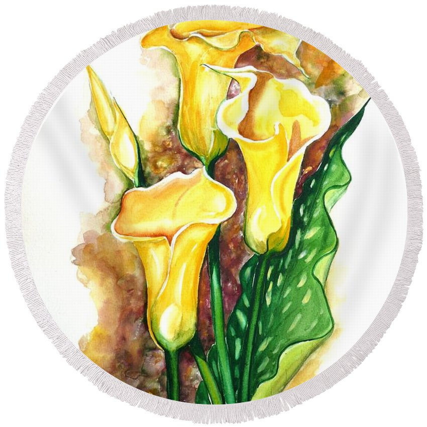 Flower Paintings Floral Paintings `yellow Flower Paintings  Lily Paintings Calla Lily Paintings  Botanical Paintings Greeting Card Paintings Canvas Print Paintings Poster Print Paintings Round Beach Towel featuring the painting Yellow Callas by Karin Dawn Kelshall- Best