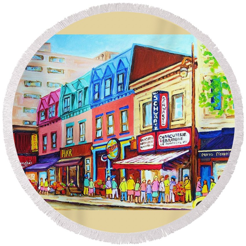 Reastarant Round Beach Towel featuring the painting Yellow Car At The Smoked Meat Lineup by Carole Spandau