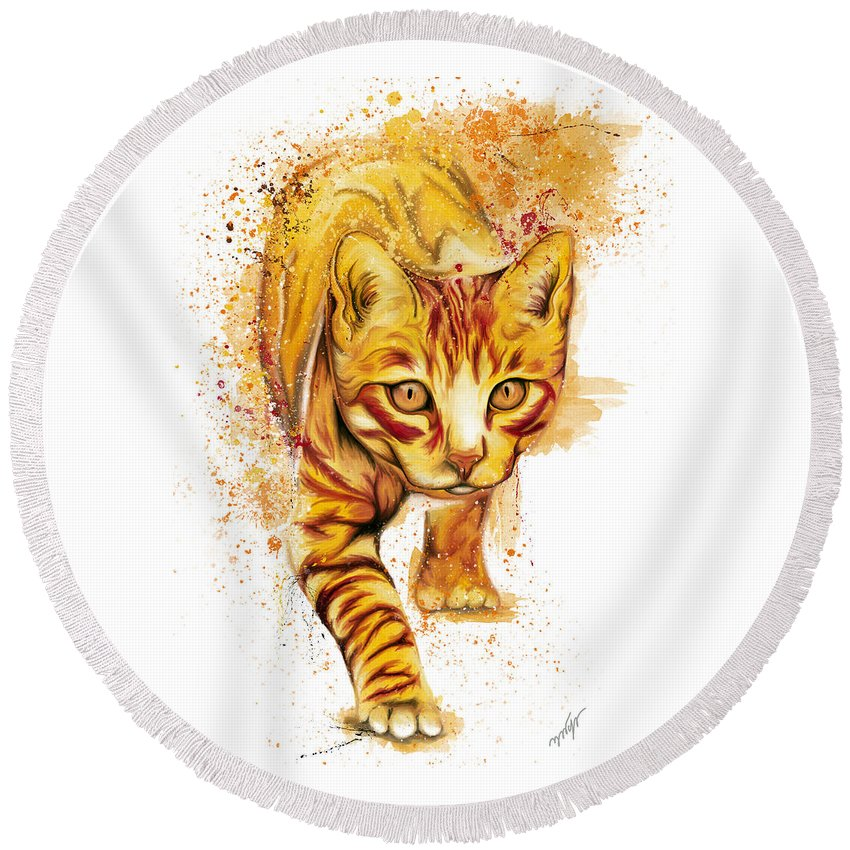 Yellow Cat Round Beach Towel featuring the digital art Yellow Cat by Nadia CHEVREL