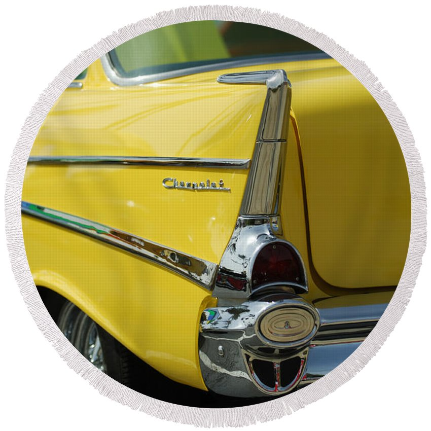 Car Round Beach Towel featuring the photograph Yellow Chevrolet Tail Fin by Jill Reger