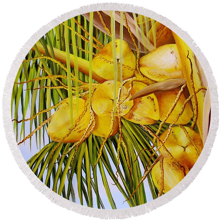 Coconuts Round Beach Towel featuring the painting Yellow Coconuts- 01 by Dominica Alcantara