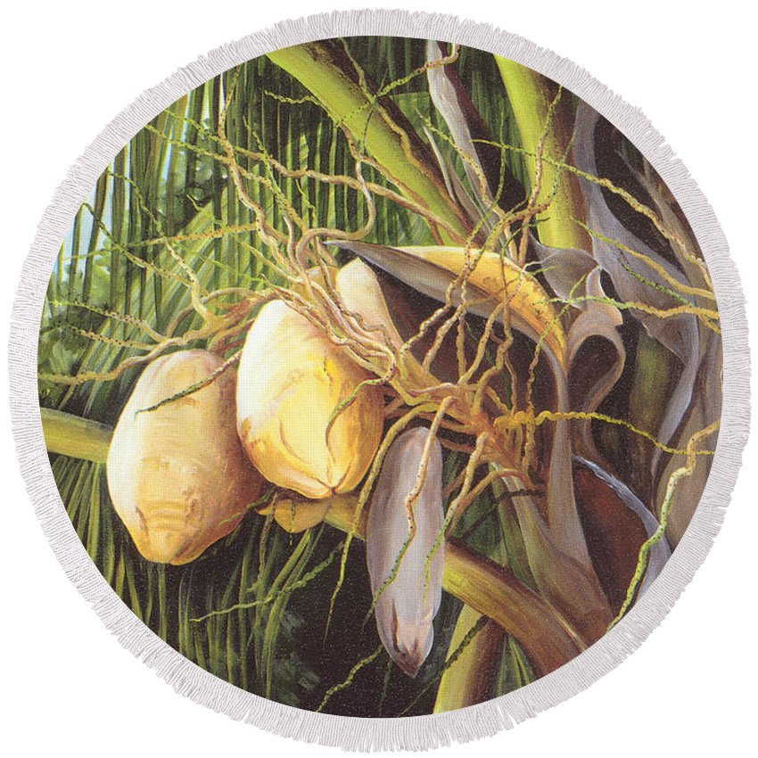 Yellow Coconuts Round Beach Towel featuring the painting Yellow Coconuts From The Tropics by Dominica Alcantara