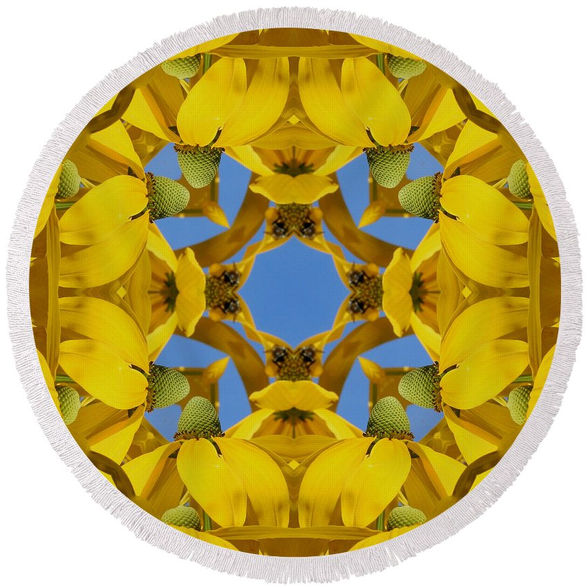 Kaleidoscope Round Beach Towel featuring the photograph Yellow Coneflower Kaleidoscope by Smilin Eyes Treasures