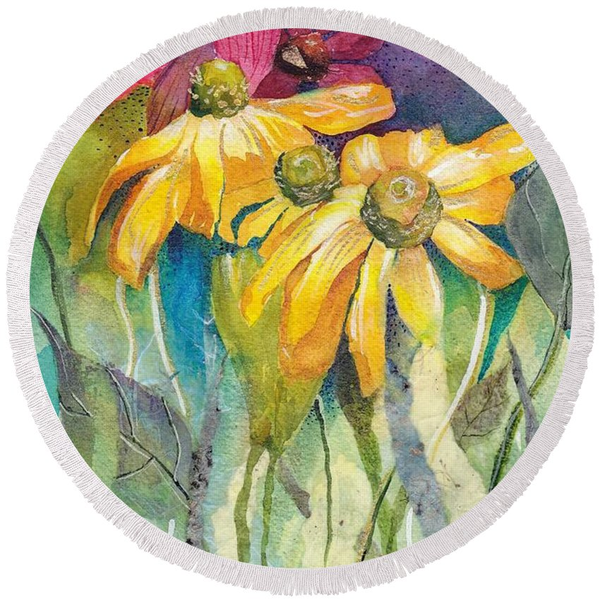 Flowers Garden Daisy Pink Yellow Green Landscape Coneflower Leaf Summer Spring Sunshine Bouquet Round Beach Towel featuring the mixed media Yellow Coneflower by Mary Lou McCambridge