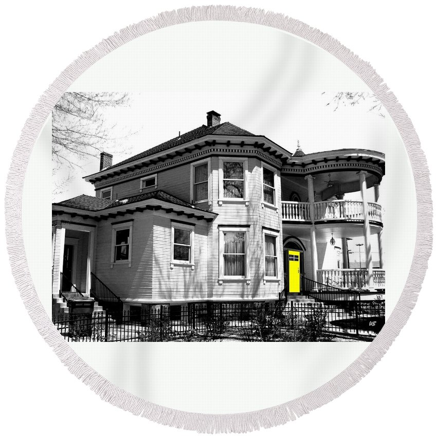 House Round Beach Towel featuring the digital art Yellow Door by Will Borden