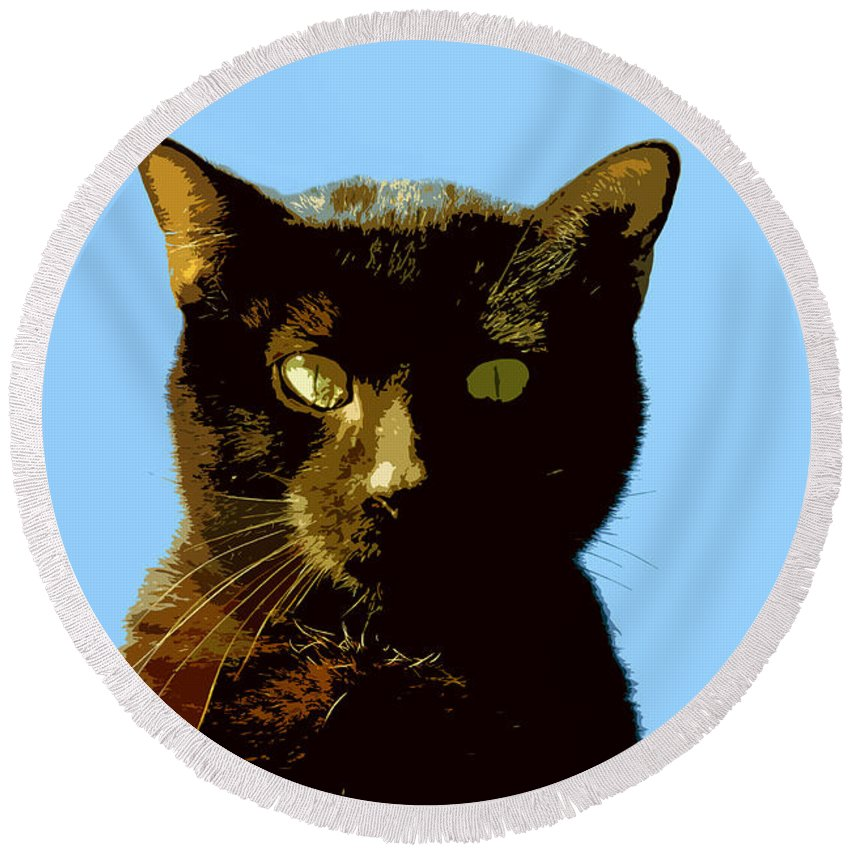 Cat Round Beach Towel featuring the painting Yellow Eyes by David Lee Thompson