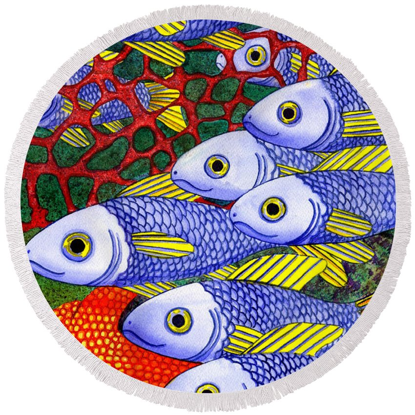 Fish Round Beach Towel featuring the painting Yellow Fins by Catherine G McElroy