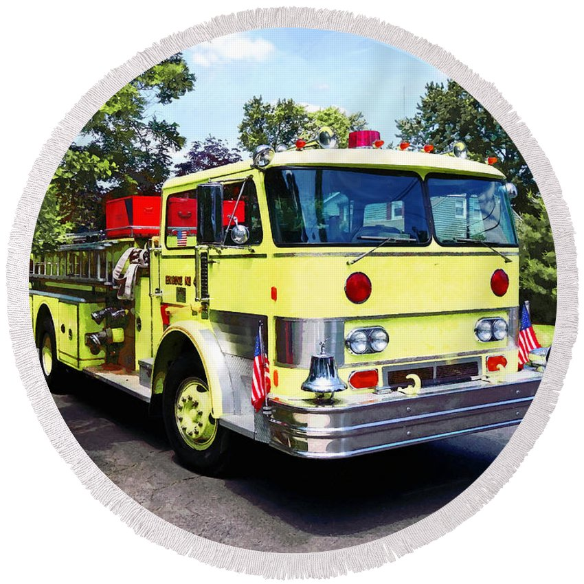 Fire Engine Round Beach Towel featuring the photograph Yellow Fire Truck by Susan Savad