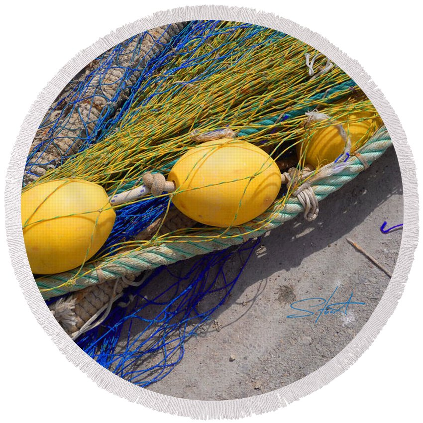 Fishing Net Round Beach Towel featuring the photograph Yellow Floats by Charles Stuart