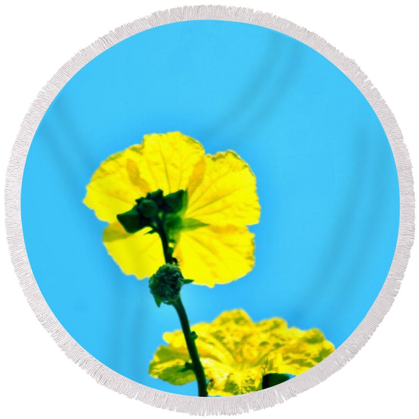 Yellow Flower Round Beach Towel featuring the photograph Yellow Flower by Sandeep Kumar Dogra