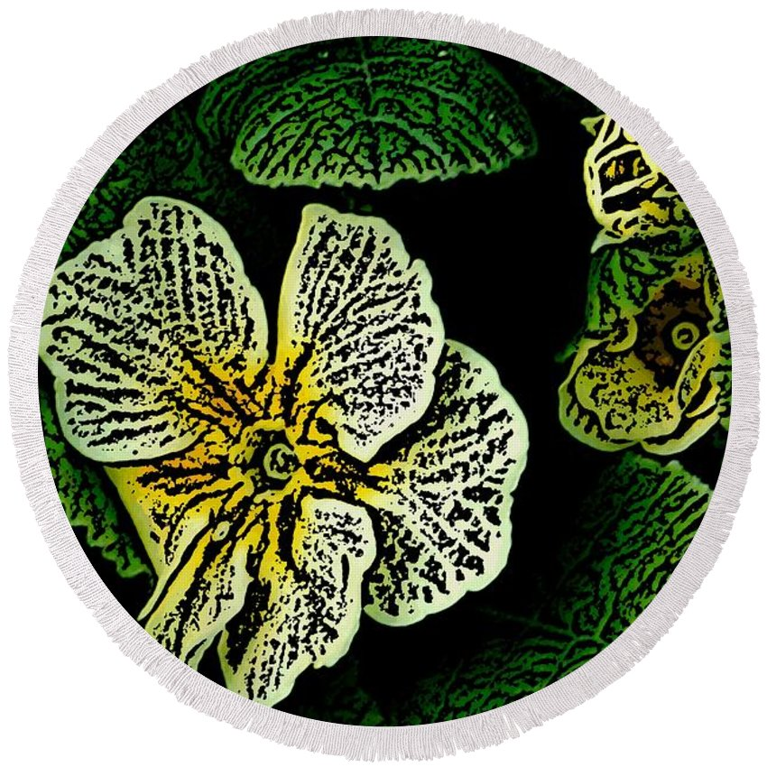 Floral Round Beach Towel featuring the digital art Yellow Flower Woodcut by David Lane