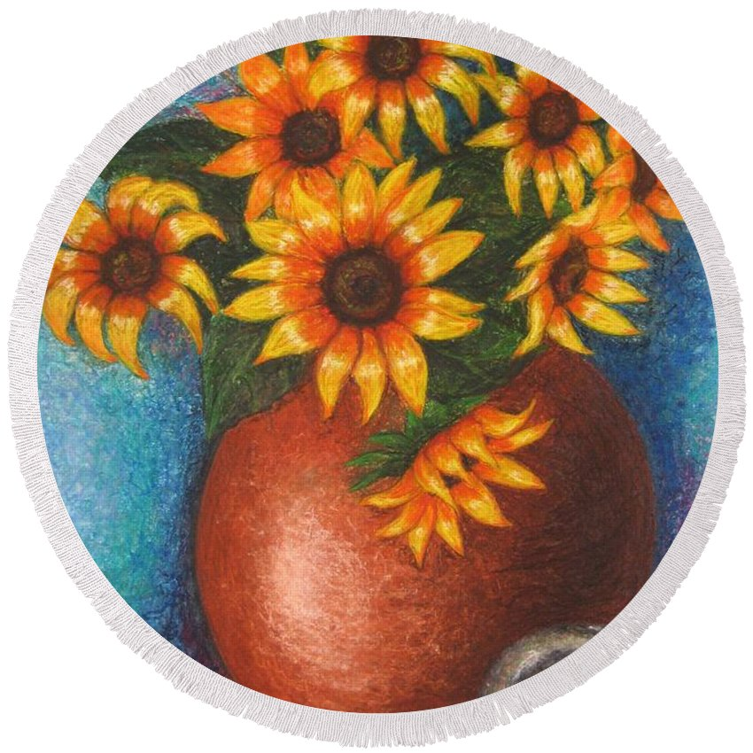 Sunflower Round Beach Towel featuring the pastel Yellow Flowers by Stella Velka