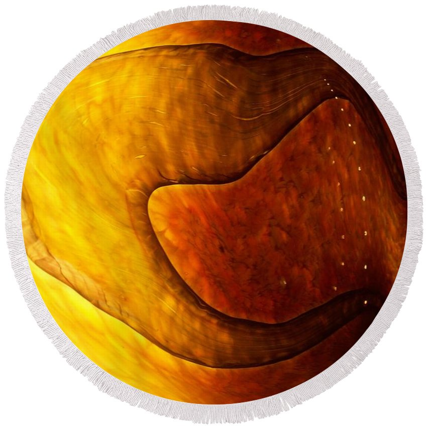 Yellow Round Beach Towel featuring the painting Yellow Glass Abstract by Eric Schiabor