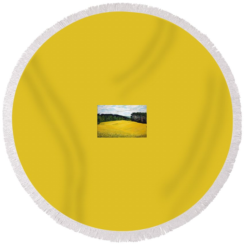 Landscape Round Beach Towel featuring the painting Yellow Ground by Pablo de Choros