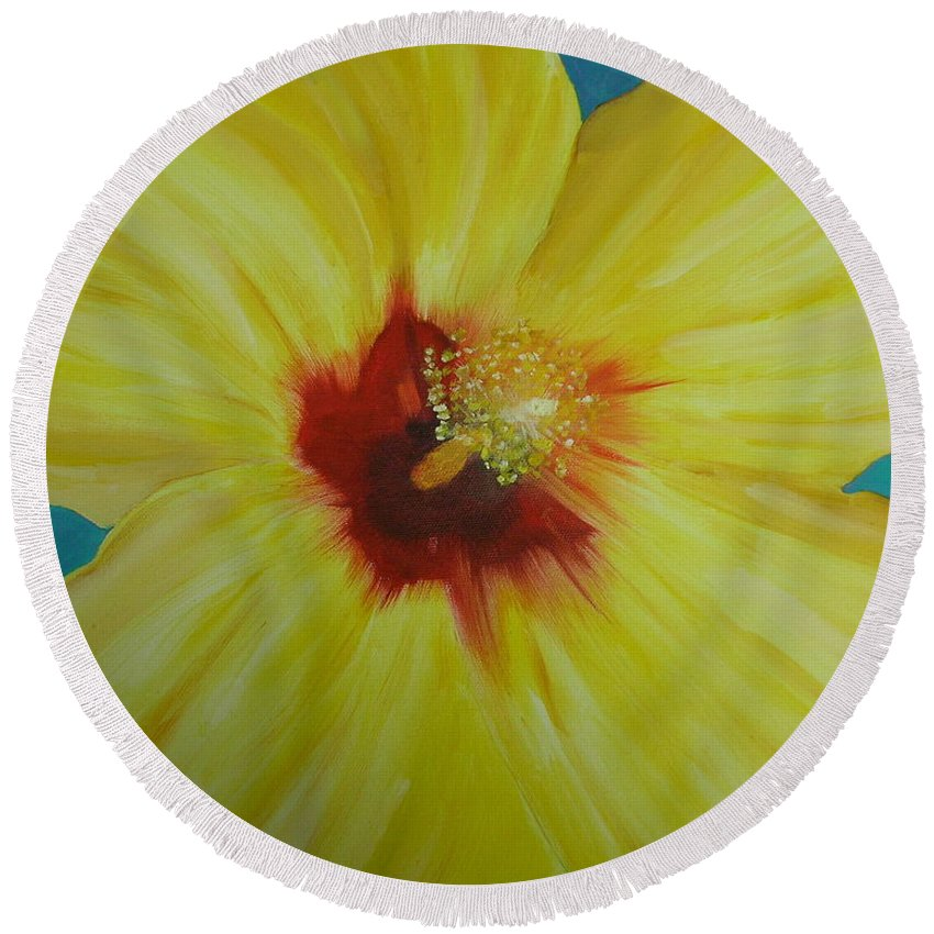 Flower Round Beach Towel featuring the print Yellow Hibiscus by Melinda Etzold