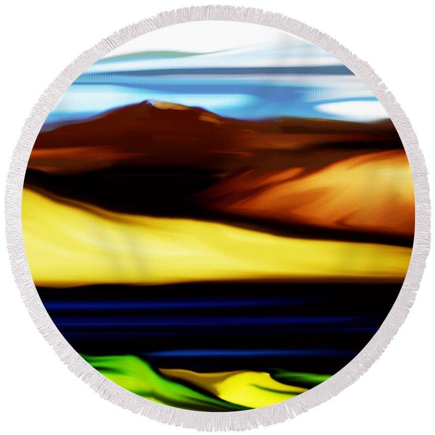 Digital Painting Round Beach Towel featuring the digital art Yellow Hills by David Lane