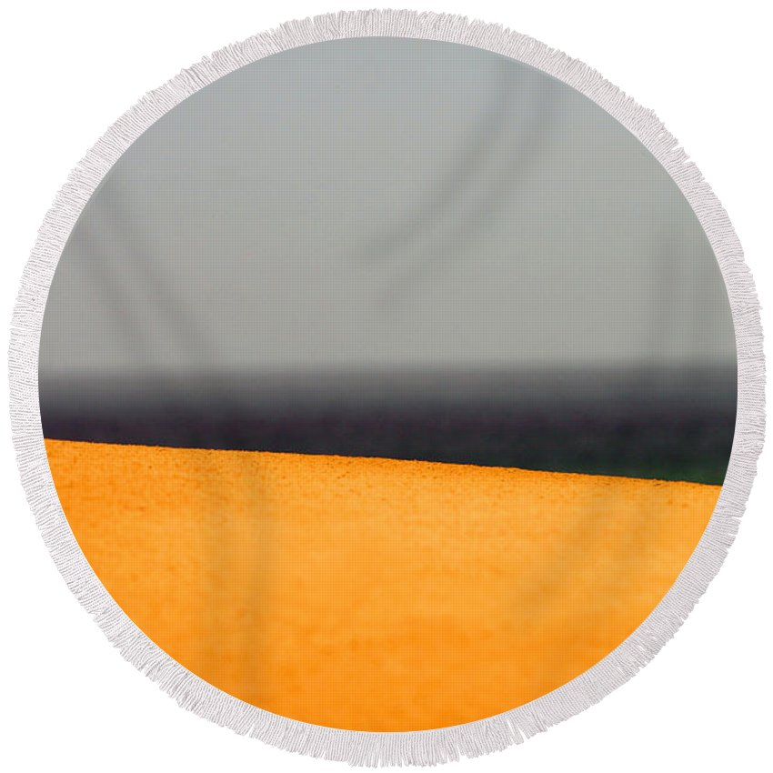 Yellow Round Beach Towel featuring the photograph Yellow Horizon by Hana Shalom