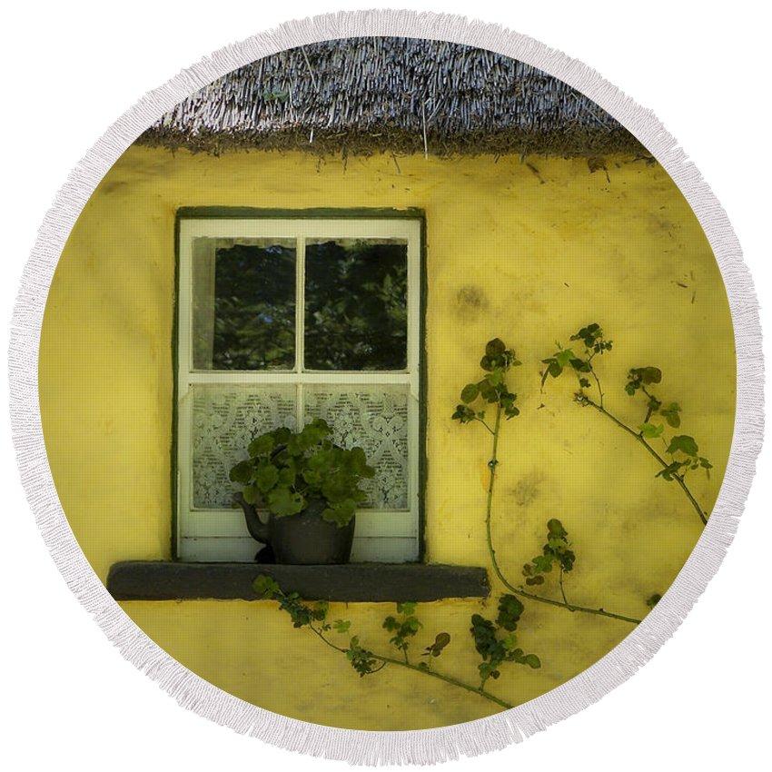 Irish Round Beach Towel featuring the photograph Yellow House County Clare Ireland by Teresa Mucha