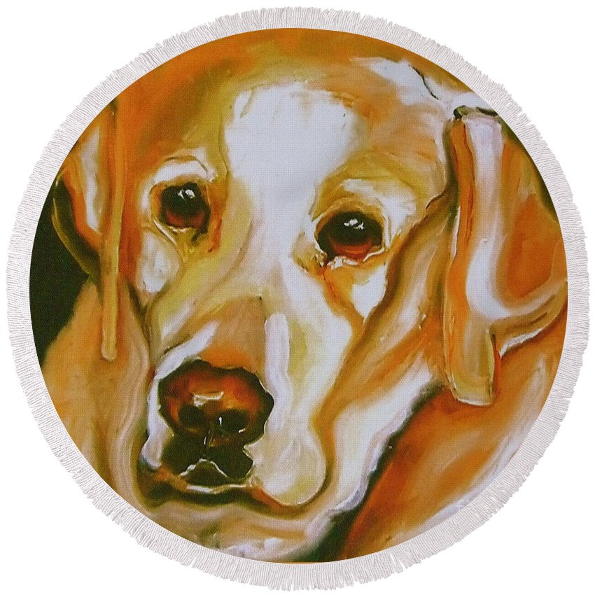 Oil Round Beach Towel featuring the painting Yellow Lab Amazing Grace by Susan A Becker