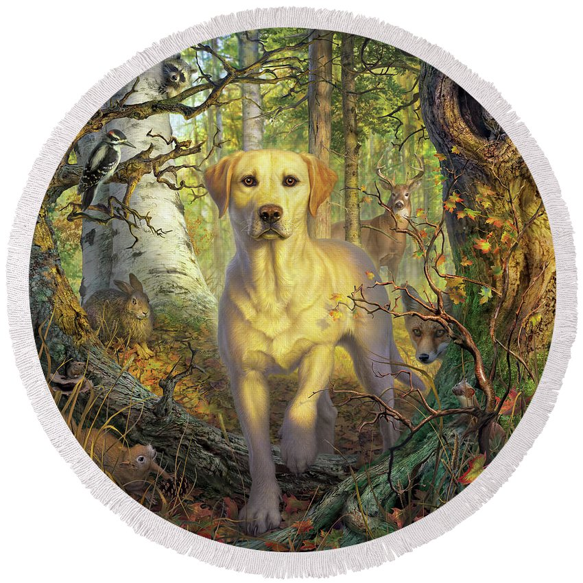 Labrador Round Beach Towel featuring the digital art Yellow Lab In Fall by Mark Fredrickson