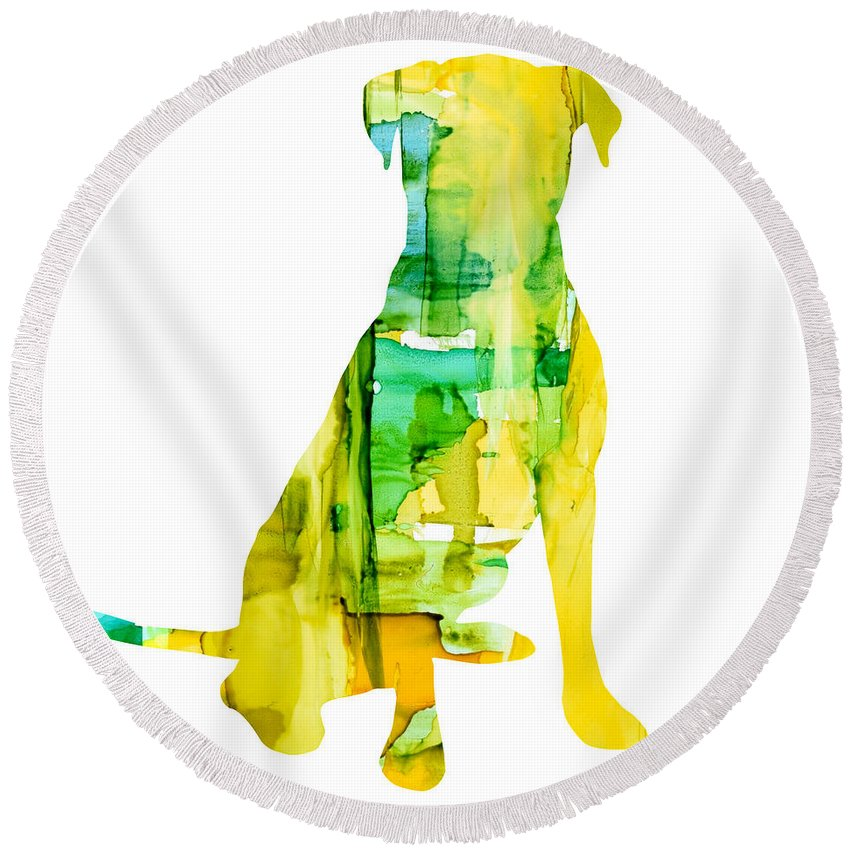 Labrador Round Beach Towel featuring the painting Yellow Lab by Marla Beyer