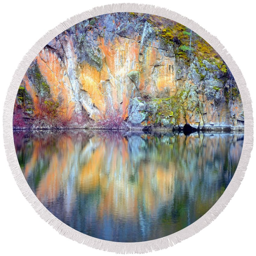 Yellow Lake Round Beach Towel featuring the photograph Yellow Lake Abstract by Tara Turner